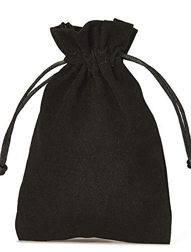 10 bolsitas de terciopelo con cordón para cerrar, tamaño 30x20 cm, bolsa para regalos de navidad, cumpleaños, joyas y otros detalles hechos a mano (negro)
