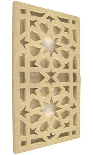 Betonelement mit Dekor Sterne in Sandstein Optik 117 cm x 62 cm x 5 cm