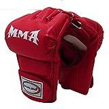 JIARUN Guantes de Boxeo de Medio Dedo, luchando contra el Combate MMA UFC Sanda Muay Thai Fitness Gloves de Deportes (Estilo Adulto),Rojo