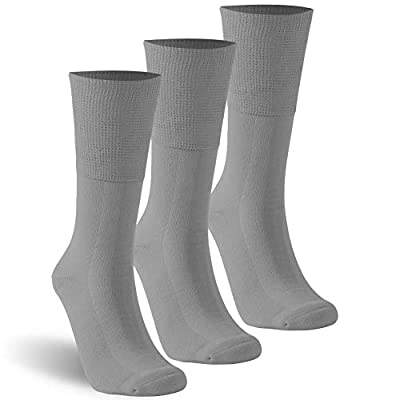 KitNSox Loose Top Socks Mens Womens No Seam Stretchy Bamboo Crew Cotton Diabetic Swollen Feet Socks Plus Size 3 Pack Gray XL by KitNSox