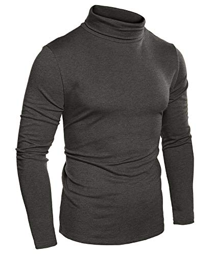 COOFANDY Mens Slim Fit Basic Thermal Turtleneck Sweaters Casual Knitted Pullover Sweaters (S, Charcoal)