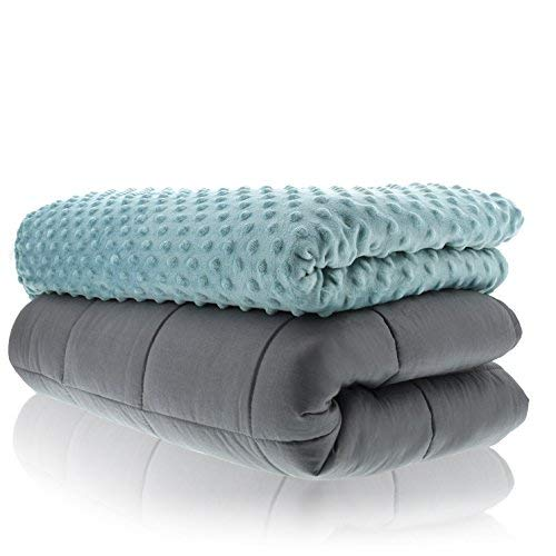 Sonno Zona Weighted Blanket Adult Size - Blanket with Cover Included - Tide 48x72 inches 15 Pound - Blankets Made from Relaxation Sleep Fabric for Natural Calm