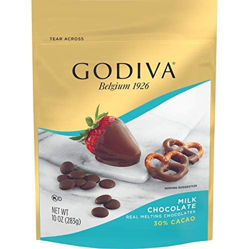 GODIVA Milk Chocolate Premium Baking Chocolate Wafers (10 oz Bag, Pack of 6)