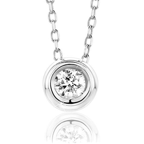 Orovi Collana - Pendente - Ciondolo Donna Solitario con Catena in Oro Bianco con Diamante Taglio Brillante Ct 0.10 Oro 9 Kt / 375 Catenina Cm 45