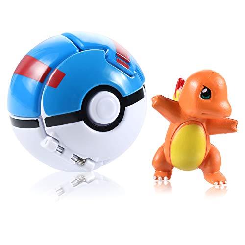 OMZGXGOD Poké Bolas Pokéball, Pokemon Figuras with Throw Pop Poké Ball Toy Set para Niños y Adultos Celebración de Fiestas Divertido Juego de Juguete de Regalo (Charmander)