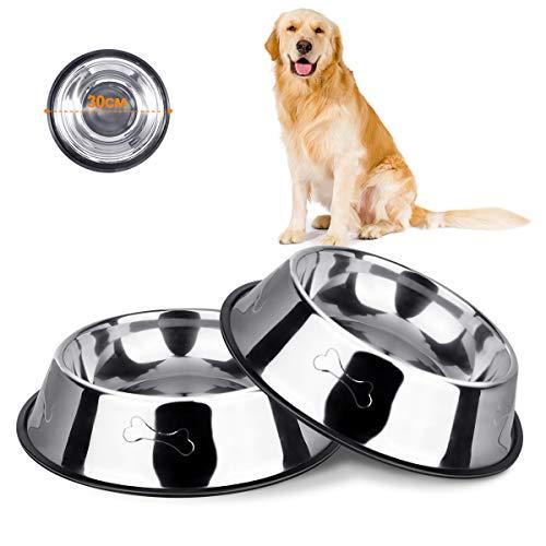 Hundenapf Edelstahl Rutschfest Futterschale für Haustiere, 2 Stück Edelstahl Hundenäpfe Futternapf mit Rutschfester Gummibasis für Futter oder Wasser, Fressnapf für Mittelgroße und Große Hunde
