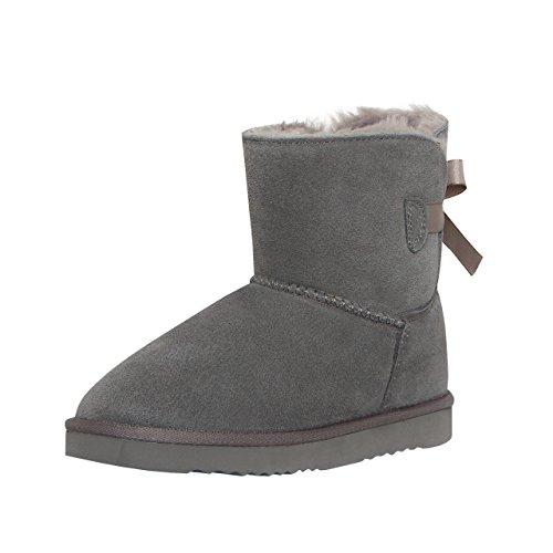 SKUTARI Playful Single Bow Boots, handgefertigte, italienische Lederstiefel für Damen mit gemütlichem Kunstfellfutter, Rutschfester und gepolsterter Sohle (41 EU, Grau)