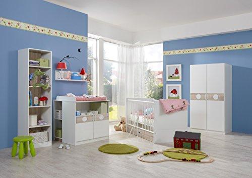 moebel-guenstig24.de Babyzimmer-Set KIMBA 7tlg Komplett Bett Wickelkommode kl. Schrank und Hängeregal Regal Eiche-Sägerau