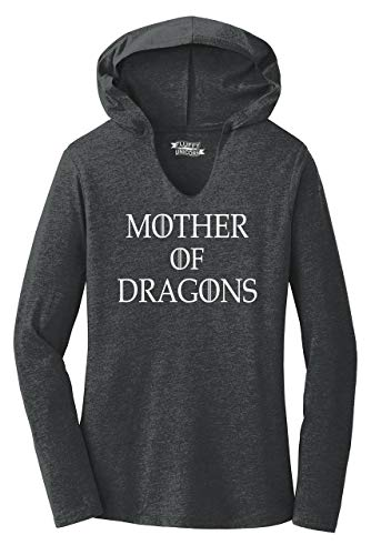 Ladies Hoodie Shirt Mother of Dragons T Shirt Thrones TV Show Gamer Gift Tee Black Frost L