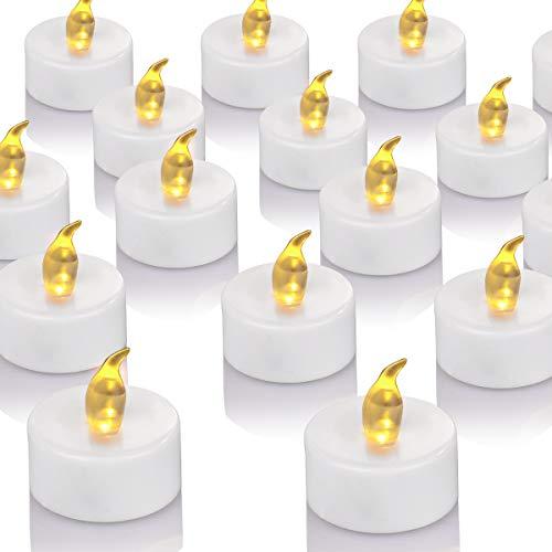OSHINE 50unidades LED Velas Velas CR2032 pilas velas sin llama de iluminación eléctrica falso Vela para Hogar Navidad boda mesa regalo al aire libre cálido Amarillo …