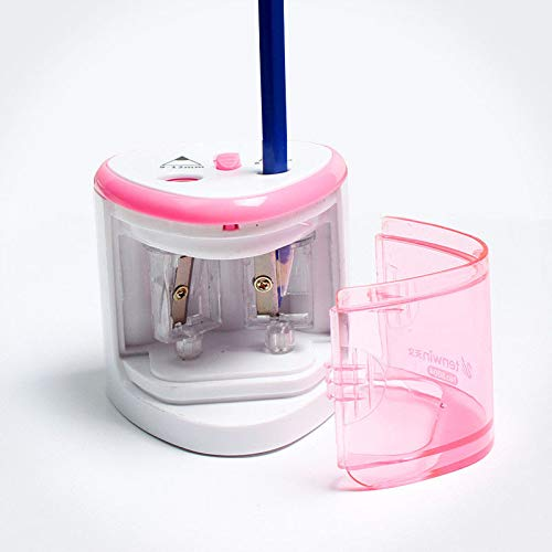 Sacapuntas eléctrico SENRISE de 2 agujeros, cortador automático de lápices de escritorio, funciona con pilas, para niños, escuela, aula, oficina, hogar y papelería, regalo rosa