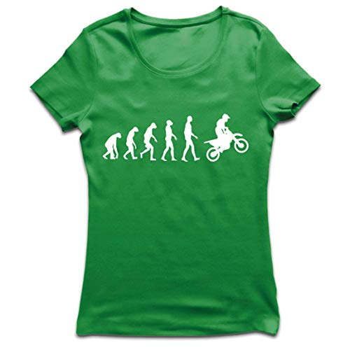 lepni.me Frauen T-Shirt Motocross-Evolution Dirtbike-Motorradausrüstung Offroad-Rennbekleidung (Small Grün Weiß)