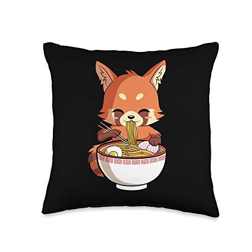 Kawaii Anime Ramen Lover Store Co. Kawaii Red Panda Eating Ramen Japanese Noodles Anime Lover Throw Pillow, 16x16, Multicolor