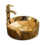 cxjff Lavabo de Arte Europeo Dorado Aseo doméstico Hotel Cara Personal Lavabo de cerámica Lavabo del baño @ Color_2 (Color : Color 2)