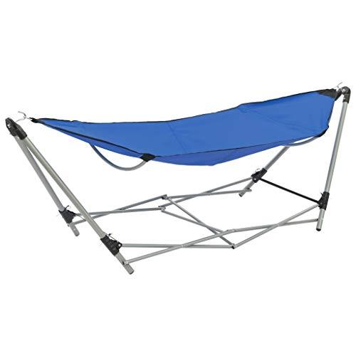 Festnight- Camping Hängematte mit faltbarem Zusammenklappbar für Utensilien Campingbett Klappliege Gartenliege Gästebett Ständer Blau/Braun
