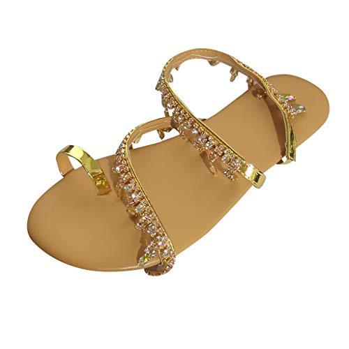 BaZhaHei Sommer Elegante Boho Vintage Damen Frauen Mode Perlen Sandalen Sommer Schuhe Party Sexy Perle Flache Unterseite Clip Toe Flip Flop Zehentrenner Schuhe Übergröße Sommerschuhe