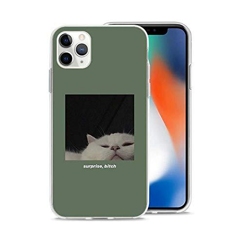 Custodia in Silicone Coque per iPhone 11 Pro XR X SE 2020 11Pro Max XS MAX 7 8 6 6S Plus Trasparente Soft Funda Capa Cute Cat