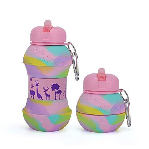 Vani Saveurs Kiddoun - Cantimplora deportiva para niños, plegable, fácil de transportar, sin BPA, fútbol, baloncesto, voleibol, tenis, fantasía, color rosa