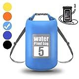 WIN.MAX Wasserdichte Wasserdichter Packsack mit Handybeutel, Hellblau, 30L