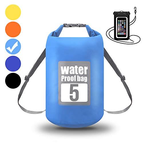WIN.MAX Wasserdichte Wasserdichter Packsack mit Handybeutel, Hellblau, 10L