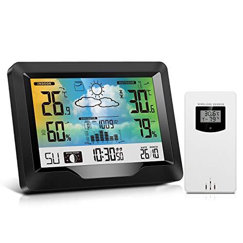 Estación Meteorológica Inalámbrica Interior y Exterior con Sensor Exterior, Monitor de Barómetro de Temperatura de Humedad con Alarmas, Pronóstico del Tiempo, Termómetro e Higrómetro para Hogar