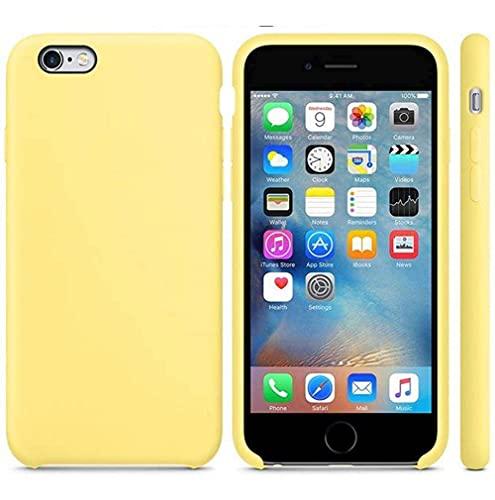Funda de Silicona Silicone Case para iPhone 6 Plus, iPhone 6S Plus, Tacto Sedoso Suave, Carcasa Anti Golpes, Bumper, Forro de Microfibra… (Amarillo Limón)