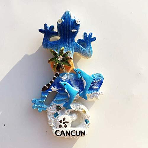 Lizard Cancún México Imán de Nevera 3D Resina de la Ciudad de Viaje Recuerdo Colección de Regalo Fuerte Etiqueta Engomada refrigerador