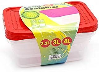 طقم علب بلاستيك بالغطاء لتخزين الطعام وتحضير الوجبات من مينترا، 3 قطع - احمر