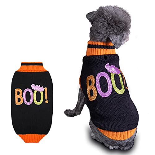 cyeollo Dog Sweater Dog Halloween Boo Knitwear Turtleneck Pet Holiday Clothes for Cold Weather Cozy Doggie Winter Outfit for Large Dogs