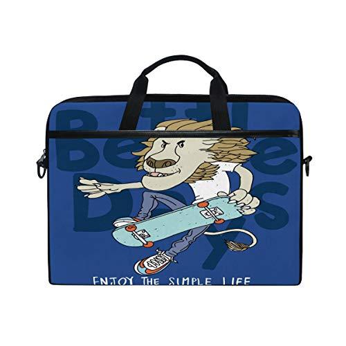 Funny Lion mit Skateboard-Laptop, Umhängetasche, Messenger Bag, Computer, Aktentasche, Business, Notebook, Tasche mit Tragegriff, für 35,6 cm bis 38,1 cm (14 Zoll)