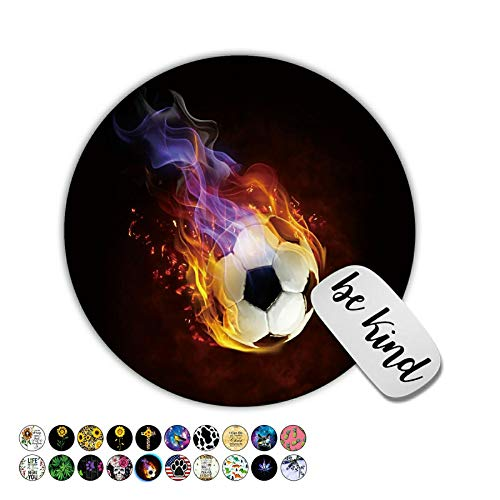 Dikoer Fire Soccer Round Mouse Pad for Laptops Office Computer Decor,Cute Gaming Mousepad with Design,Non Slip Rubber Mouse Mat and Lovely Sticker