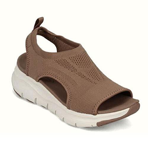 SHENGYAO Sandalias de Plataforma Peep Toe Net Unisex's Casual Comfort Sports Trekking Sandals Plus Size Summer Sandals,Brown-45