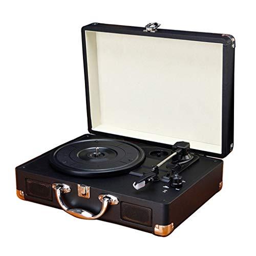 Xu-music platenspeler, 3 snelheden, draagbaar, vinyl LP-speler, stereo-luidspreker, AUX-ingang, vinyl lijn, cinch-lijn vintage naar buiten speler, blue