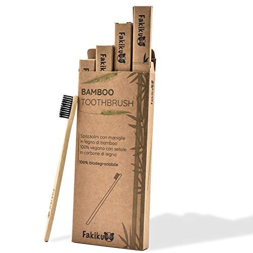 Fakiku Spazzolino Bamboo,100% Carbone Attivo, Setole Medie, Naturale,Biodegradabile,Spazzolino In Bambu Sbiancante Ecologico Anti Muffa e Eco Sostenibile,Set Da 4