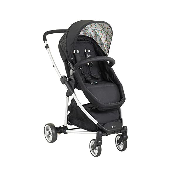 My Child Floe Reversible Convertible Pushchair, Rainbow Squiggle My Child Includes mattress, liner and apron with pocket Extra large hood with peek-a-boo window Seat unit with 3 position recline 1