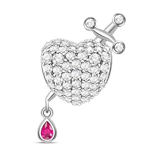 GNOCE Herzform mit Ritter Schwert Charm Perle 925 Sterling Silber Herzzerreißender Charme mit Zirkonia Fit für Armband/Halskette Geschenk für Damen Frau