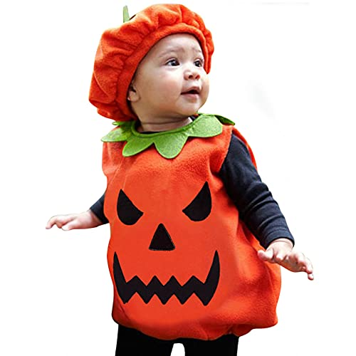 BIBOKAOKE Babykleidung Set Halloween Baby Jungen Mädchen Kleidung Ärmellos Pumpkin Shape Pocket Top+ Mütze Kleinkinder Babyset Outfit Halloween Bekleidungssets für Baby