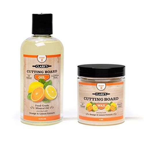 Schneidebrett Öl und Wachs (Set mit 2 Flaschen) - Inkludiert Holzöl für Schneidebrett Holz (354ml) und Finish Wachs (178ml) - Pflege Küchenhelfer aus Holz mit Orangen- und Zitronenduft