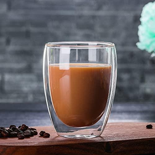 YYSD Tazas de té de café de Vidrio de Doble Pared Tazas de café de Doble Pared Resistentes al Calor Taza de limón Transparente Taza de Bebida de Agua