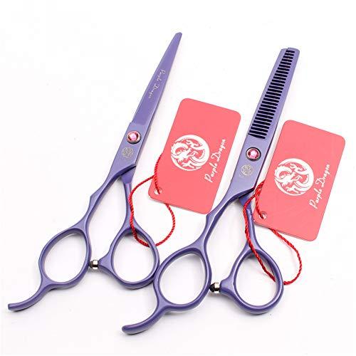 SYLL Juego de Tijeras de peluquería para Zurdos, Tijeras de peluquería de 6.0 in, Tijeras de peluquería para Zurdos, Tijeras de Adelgazamiento, peluquería para Hombres y Mujeres (púrpura),6.0 Inches