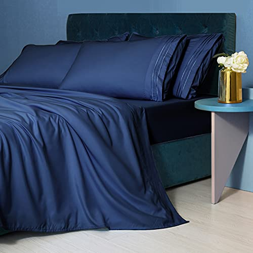LIANLAM California King Size Sheet Set - 6 Piece Bed Sheets - Super Soft Brushed Microfiber 1800 Thread Count - Breathable Luxury Sheets Deep Pocket - Wrinkle Free (Navy Blue, California King)
