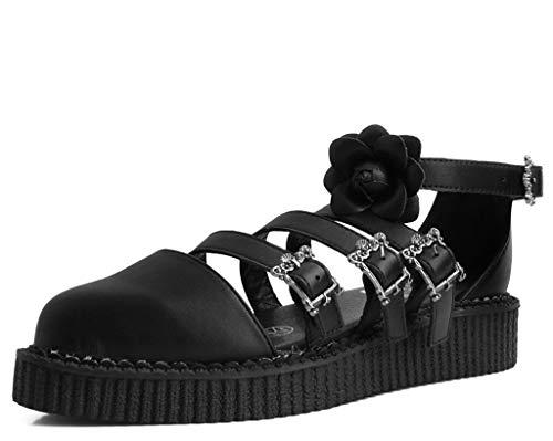 T.U.K. Shoes Frauen Schwarz Rose Tukskin™ Spitze Multi-Riemen Mary Jane Sandale 41 EU