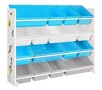 SONGMICS Estantería de Juguetes, Organizador de Juguetes Grande de 4 Niveles para niños con 16 Cubos de plástico extraíbles, para la habitación Infantil, Sala de Juegos, Blanco, Azul y Gris GKR070W03
