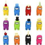 12pcs Among Us Merch Figurine, Mini Cute Figuras de juego Colección Juguetes Muñecas extraíbles Adornos Cumpleaños para fanáticos de los juegos Niños Adultos (12 estilos)