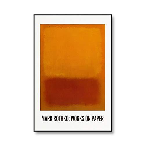 Cartel de pintura de arte mural abstracto multicolor moderno de Mark Rothko y lienzo impreso pintura de lienzo sin marco para el hogar A4 15x20cm