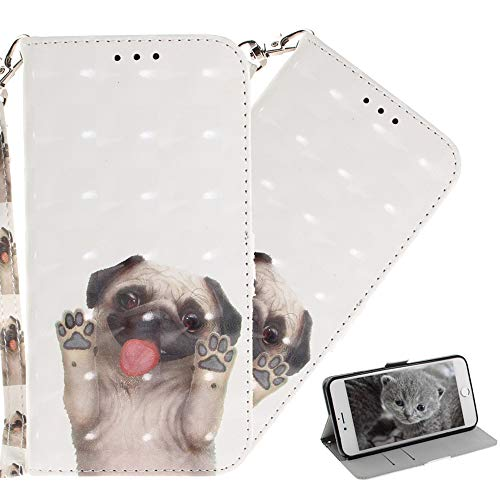 HMTECHUS P Smart 2019 case 3D Cartoon Animal Pattern PU Leather Wallet Folio Flip with Card Slots Shockproof Magnetic Clasp Protection Slim Cover for Huawei Honor 10 Lite Pug TX