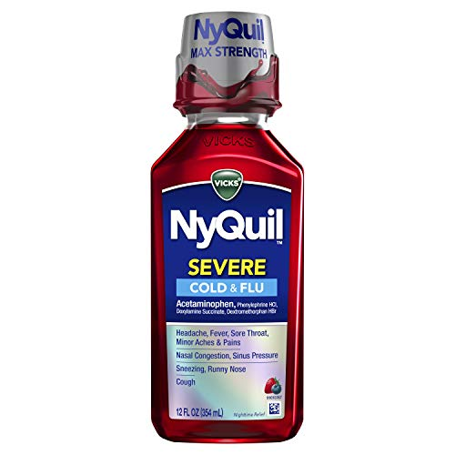 Vicks NyQuil SEVERE Cough, Cold and Flu, Berry Flavor, 12 Fl oz - Sore Throat, Fever, and Congestion Nighttime Relief