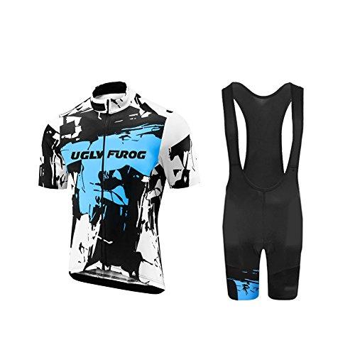 Uglyfrog Herren Kurzarm Radtrikot Set mit Jugend Rennrad Radtriktot Bid Shorts Atmungsaktiv Quick-Dry Fahrradbekleidung