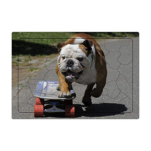LaoSong Puzzle 42 Stück Holz Puzzle Skateboard Haustier Hund Bild Familiendekorationen einzigartiges Geburtstagsgeschenk for Jugendliche und Adul