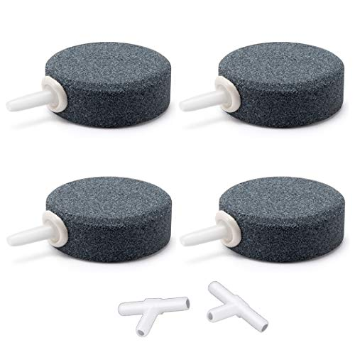 Wenshall 1.6' Small Round Air Stones for Aquariums Oxygen Diffuser Fish Tank Air Bubbler for Hydroponics Aquariums Oxygen Stone 4/8pcs (4pcs, Grey)